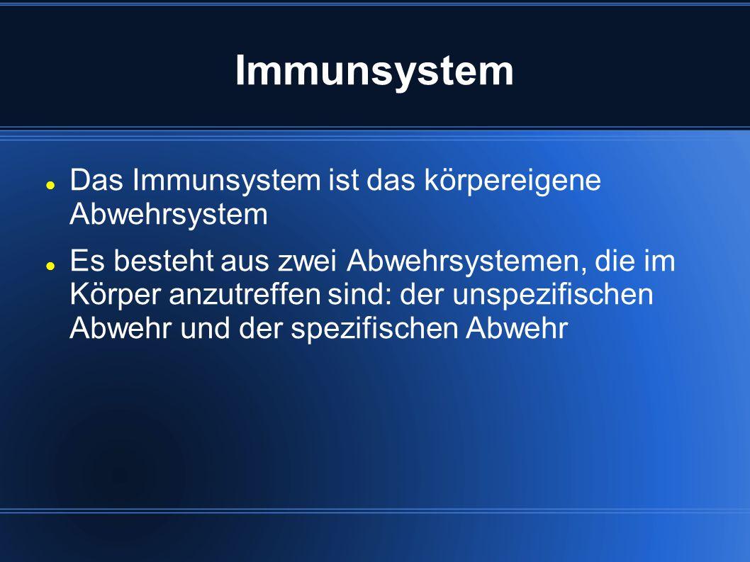 Immunsystem Das Immunsystem ist das körpereigene Abwehrsystem