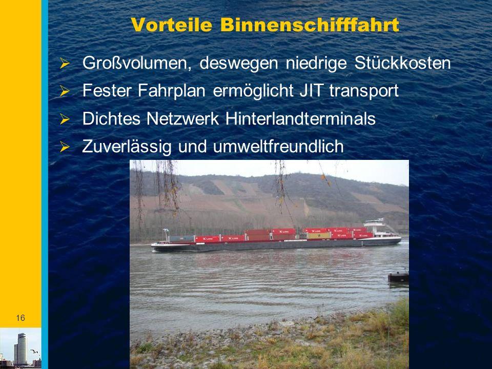 Vorteile Binnenschifffahrt
