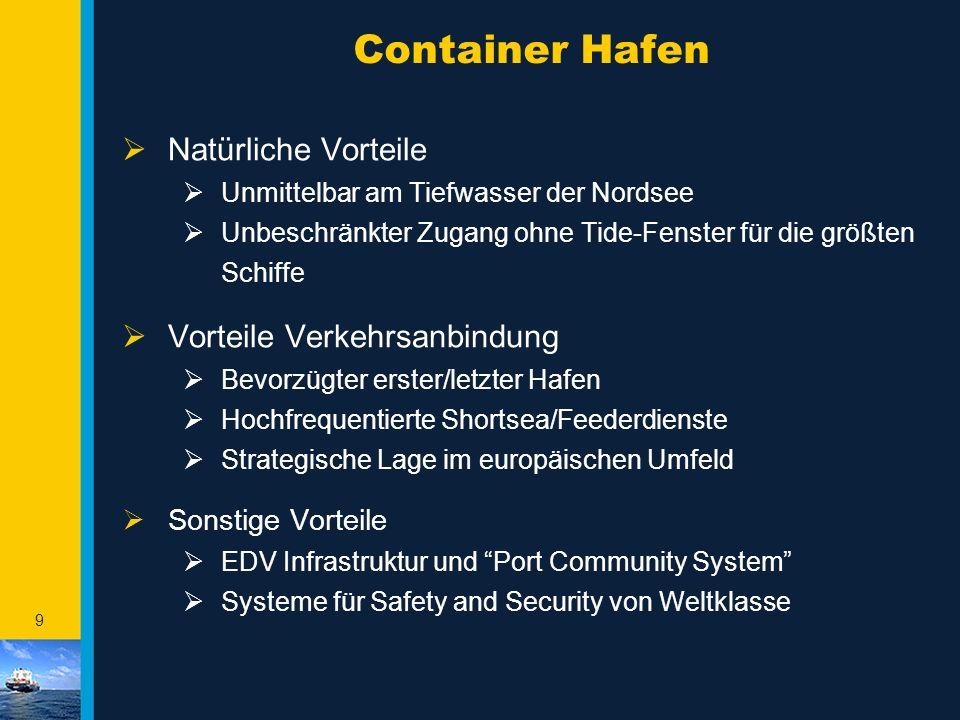 Container Hafen Natürliche Vorteile Vorteile Verkehrsanbindung