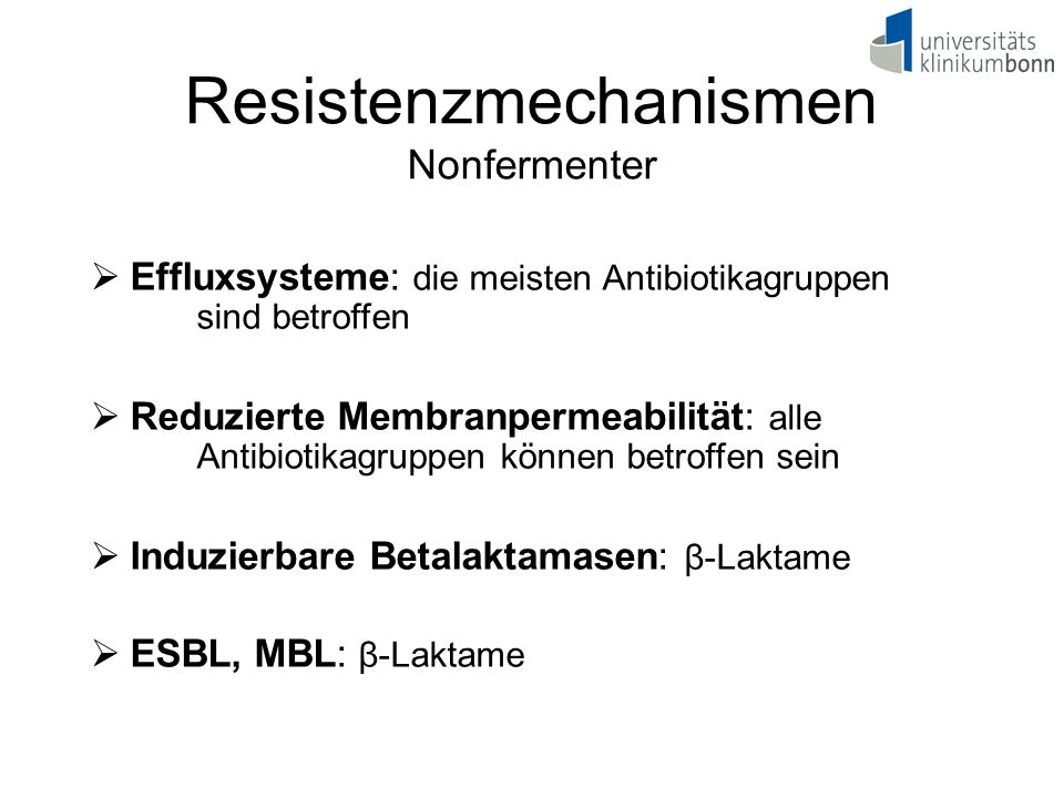 Resistenzmechanismen Nonfermenter