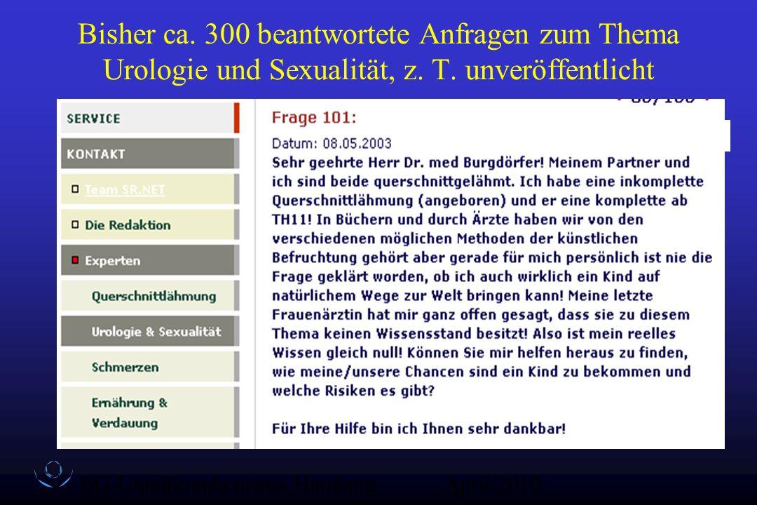Bisher ca. 300 beantwortete Anfragen zum Thema Urologie und Sexualität, z. T. unveröffentlicht