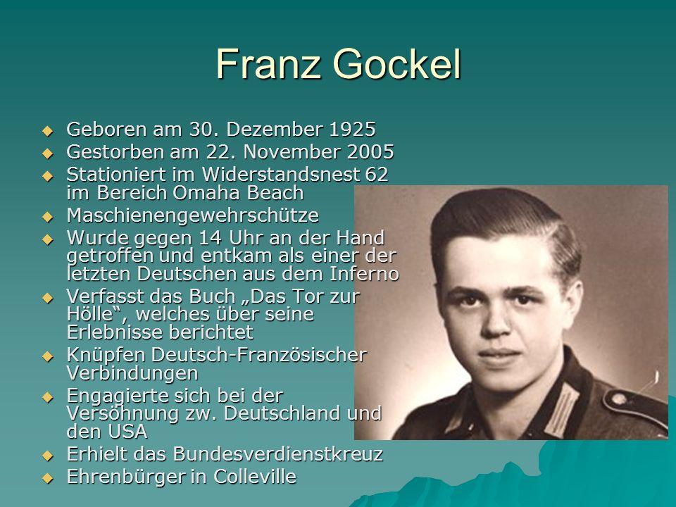 Franz Gockel Geboren am 30. Dezember 1925