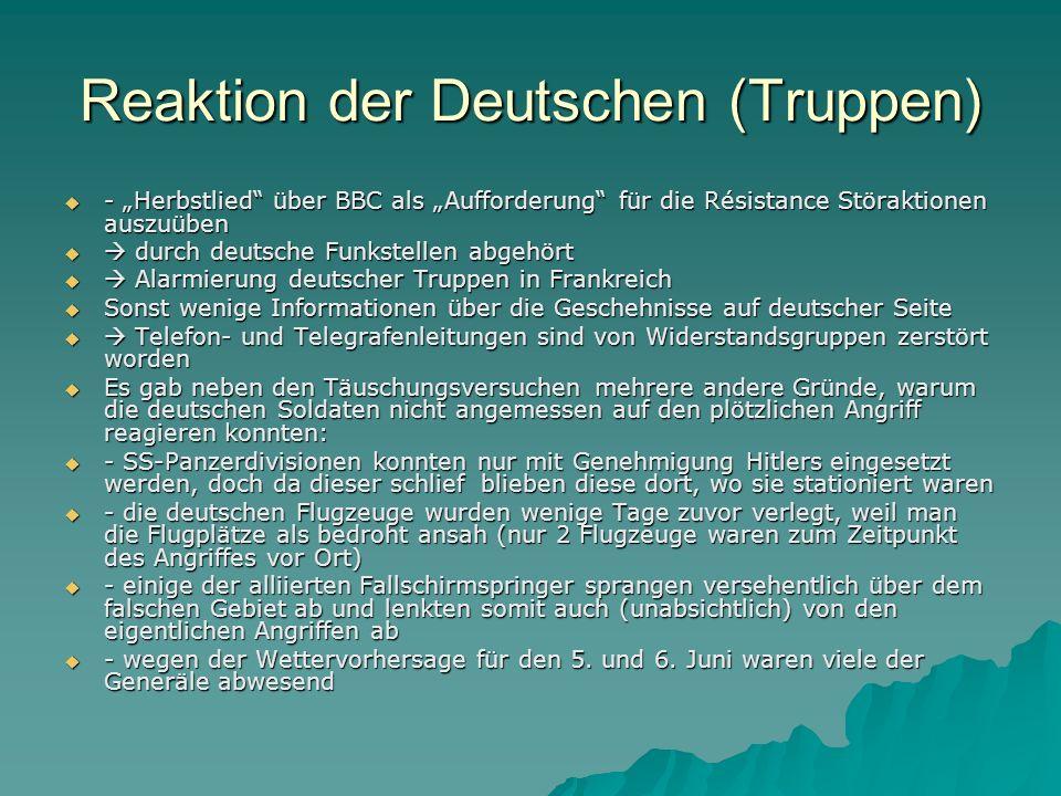 Reaktion der Deutschen (Truppen)
