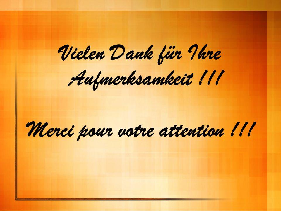 Vielen Dank für Ihre Aufmerksamkeit !!! Merci pour votre attention !!!