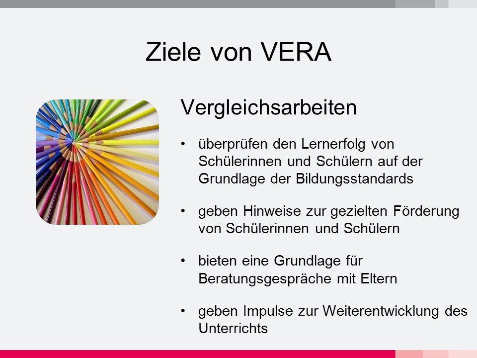 Ziele von VERA Vergleichsarbeiten