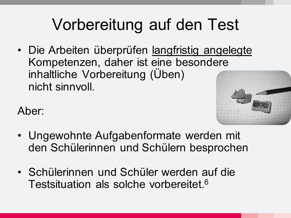Vorbereitung auf den Test