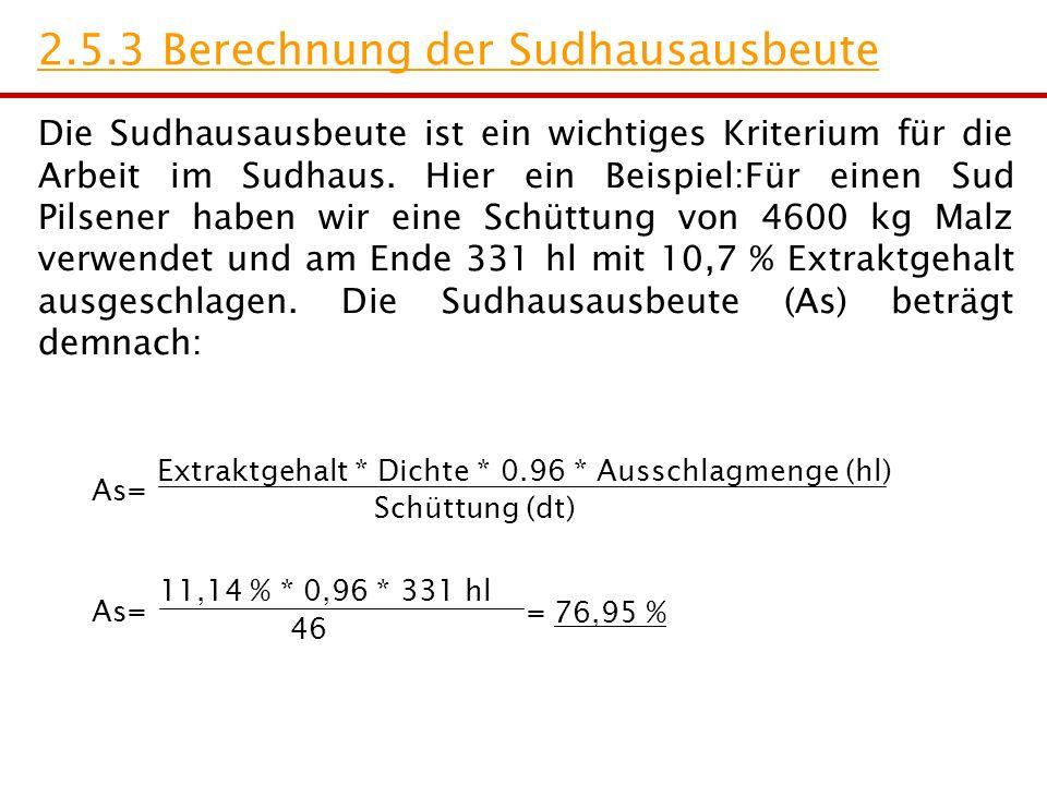 2.5.3 Berechnung der Sudhausausbeute