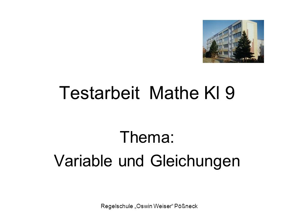 Thema: Variable und Gleichungen