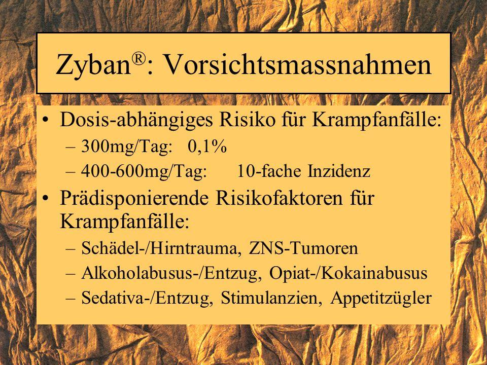 Zyban®: Vorsichtsmassnahmen