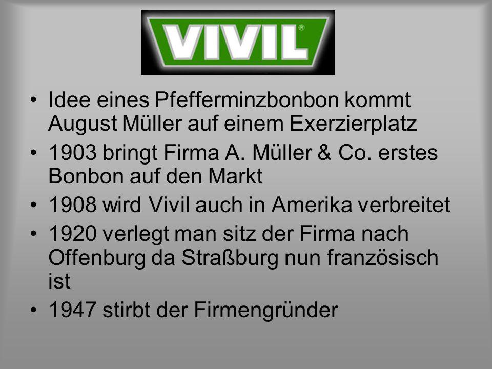 Idee eines Pfefferminzbonbon kommt August Müller auf einem Exerzierplatz