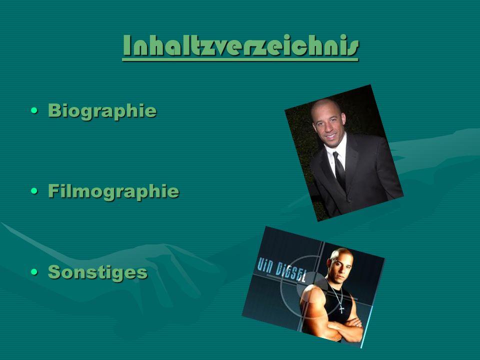 Inhaltzverzeichnis Biographie Filmographie Sonstiges