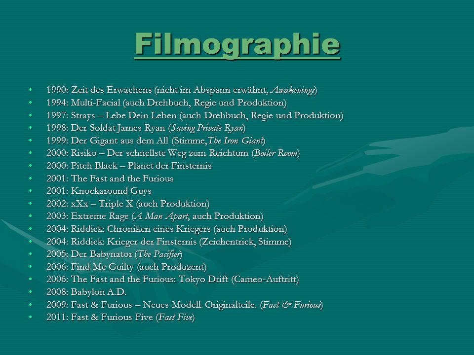 Filmographie 1990: Zeit des Erwachens (nicht im Abspann erwähnt, Awakenings) 1994: Multi-Facial (auch Drehbuch, Regie und Produktion)