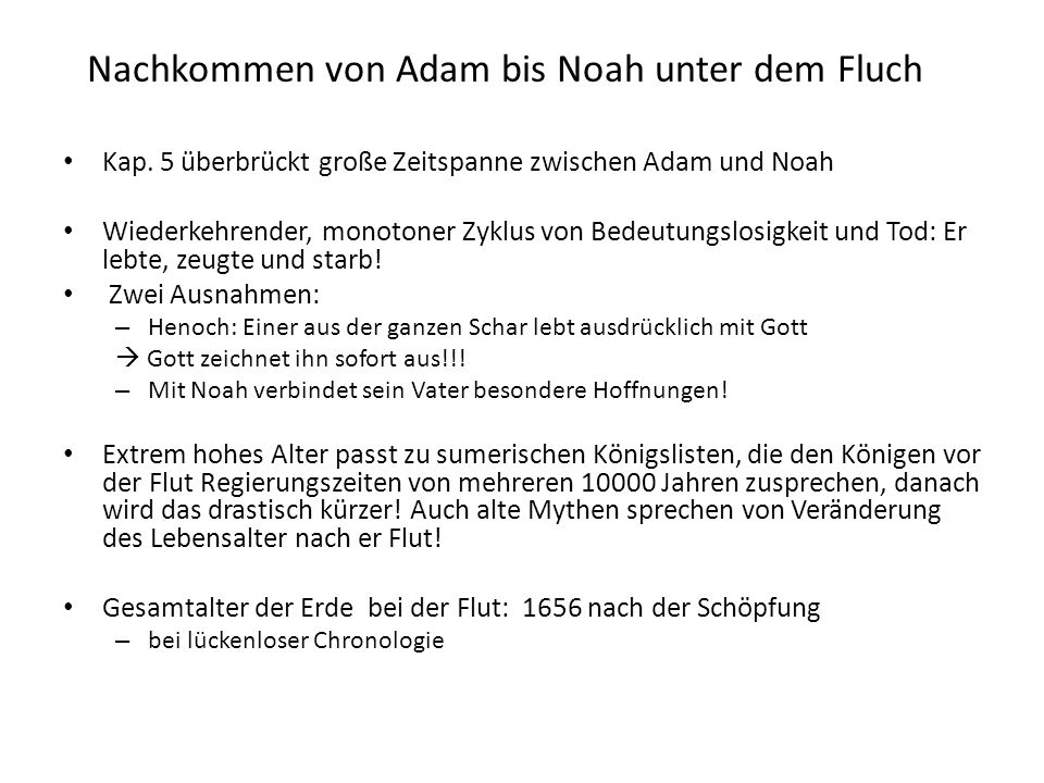 Nachkommen von Adam bis Noah unter dem Fluch