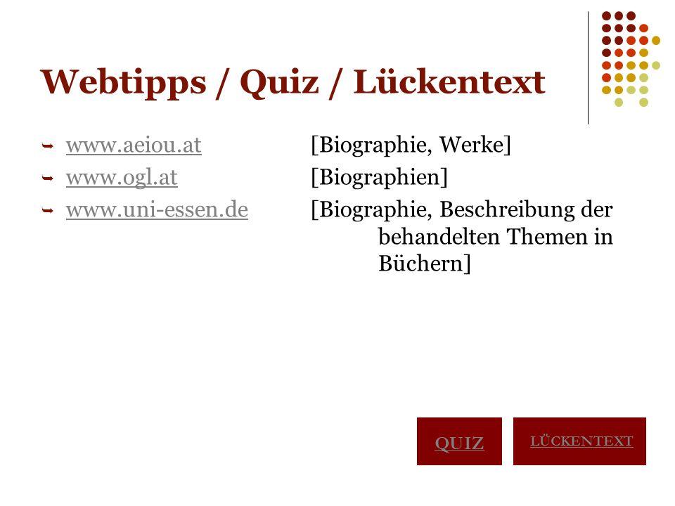 Webtipps / Quiz / Lückentext