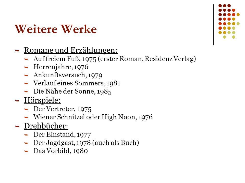 Weitere Werke Romane und Erzählungen: Hörspiele: Drehbücher: