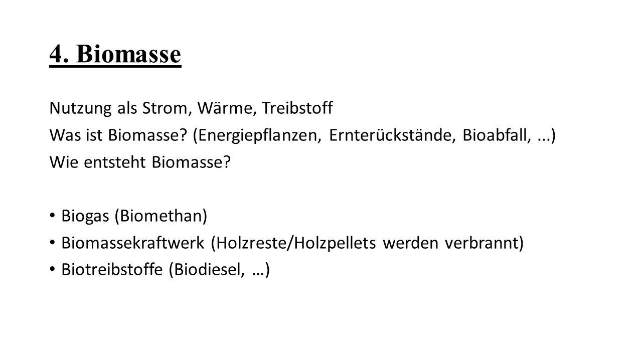 4. Biomasse Nutzung als Strom, Wärme, Treibstoff