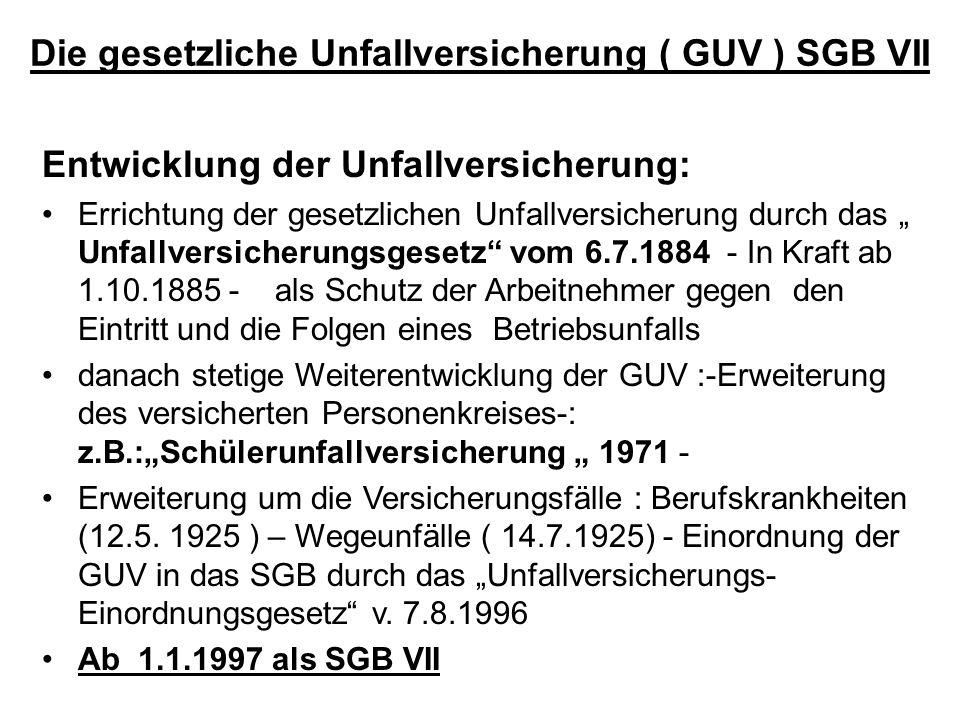 Die gesetzliche Unfallversicherung ( GUV ) SGB VII