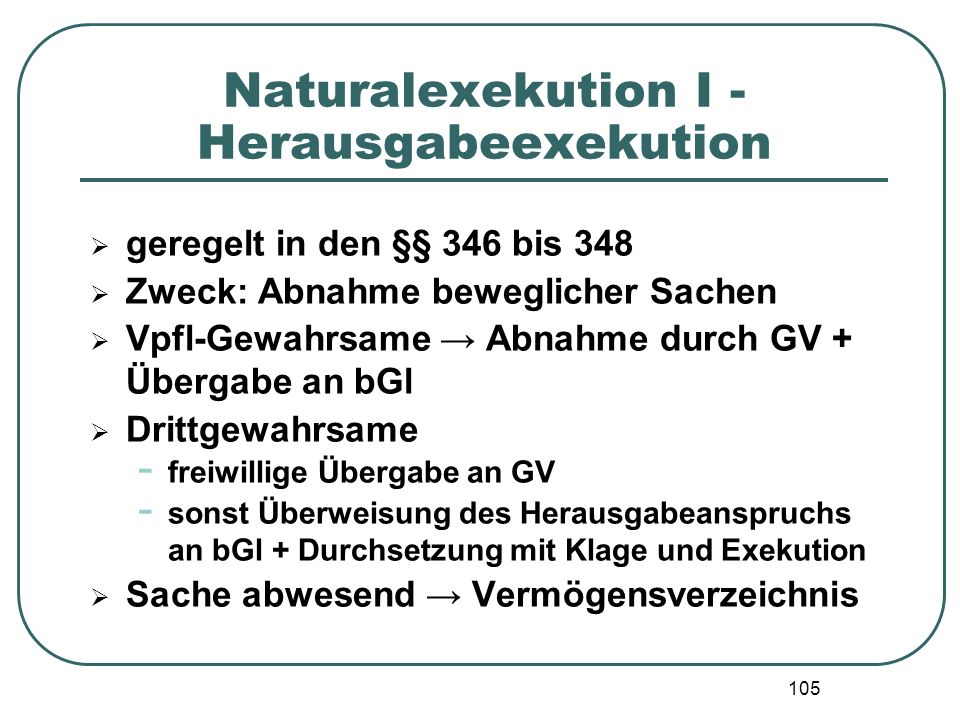 Naturalexekution I - Herausgabeexekution