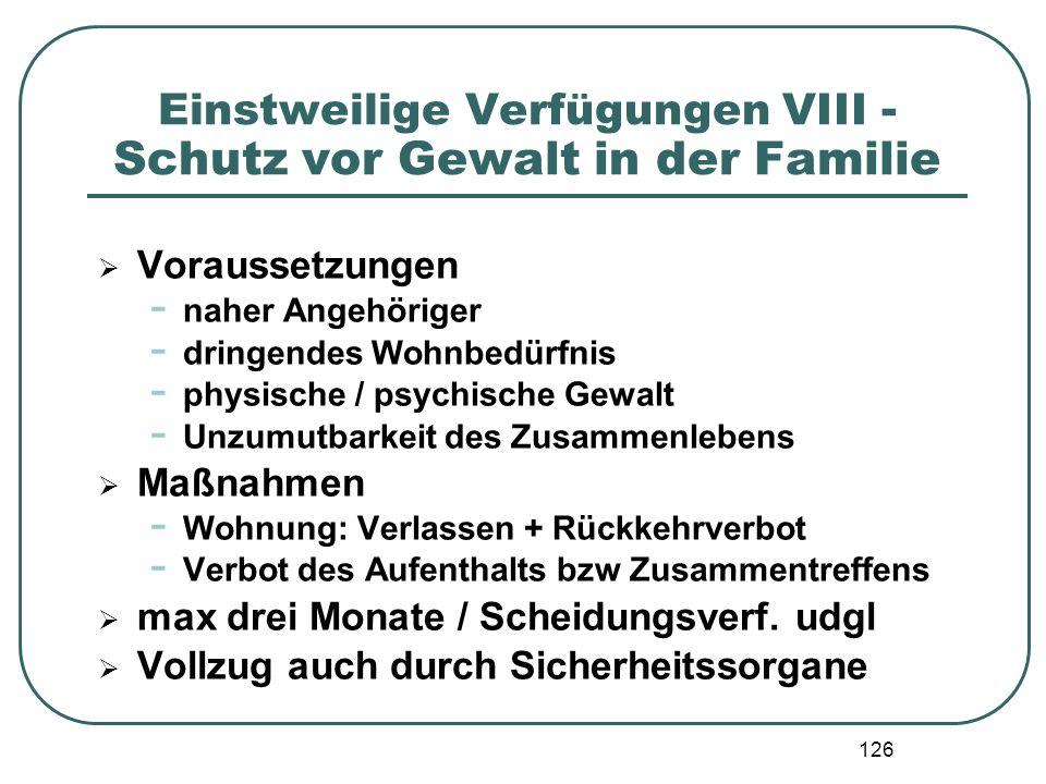 Einstweilige Verfügungen VIII - Schutz vor Gewalt in der Familie