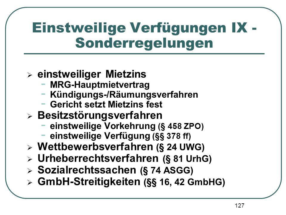 Einstweilige Verfügungen IX - Sonderregelungen