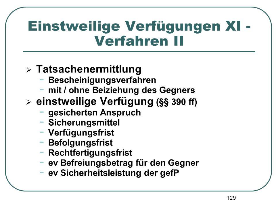 Einstweilige Verfügungen XI - Verfahren II