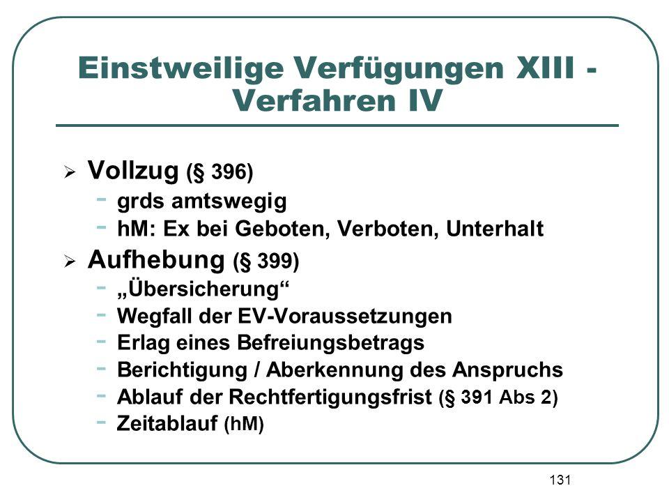 Einstweilige Verfügungen XIII - Verfahren IV