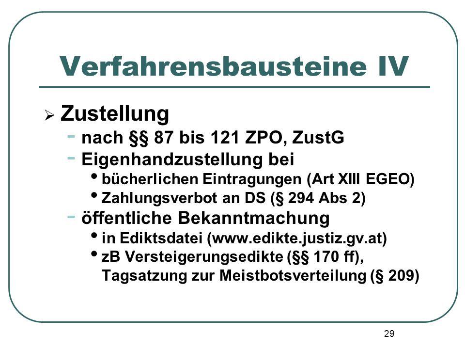Verfahrensbausteine IV