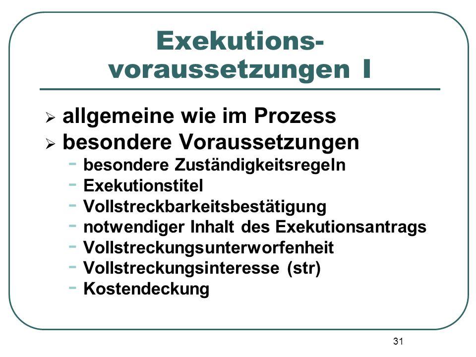 Exekutions- voraussetzungen I