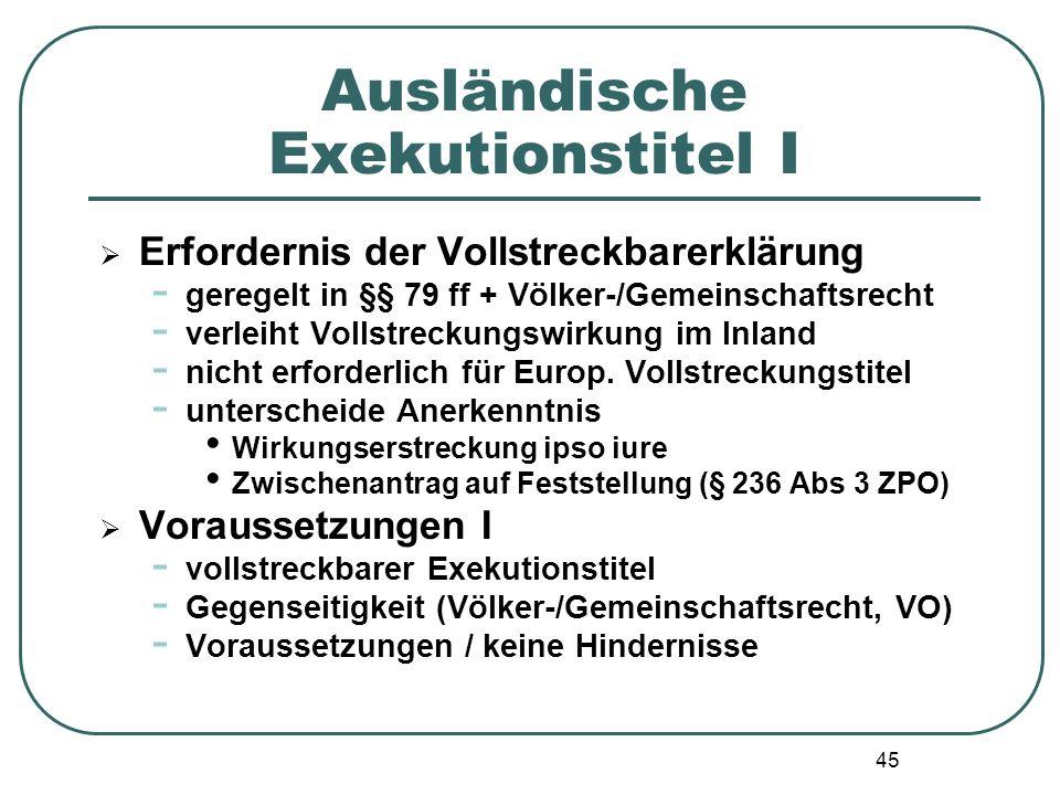 Ausländische Exekutionstitel I