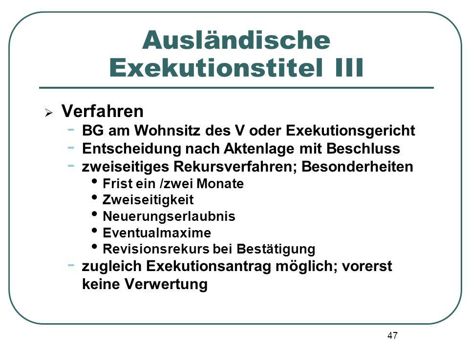 Ausländische Exekutionstitel III