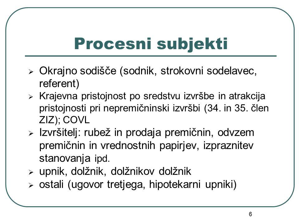 Procesni subjekti Okrajno sodišče (sodnik, strokovni sodelavec, referent)