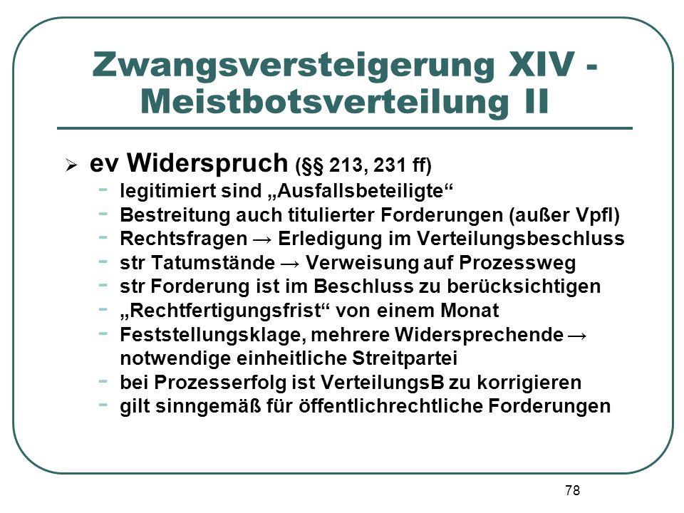 Zwangsversteigerung XIV - Meistbotsverteilung II