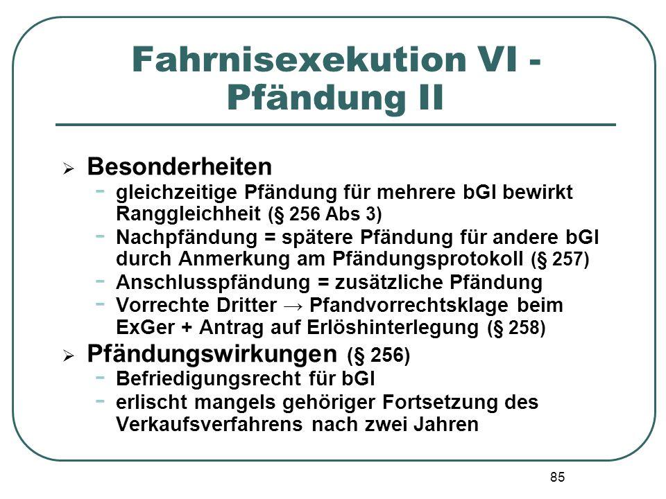 Fahrnisexekution VI - Pfändung II