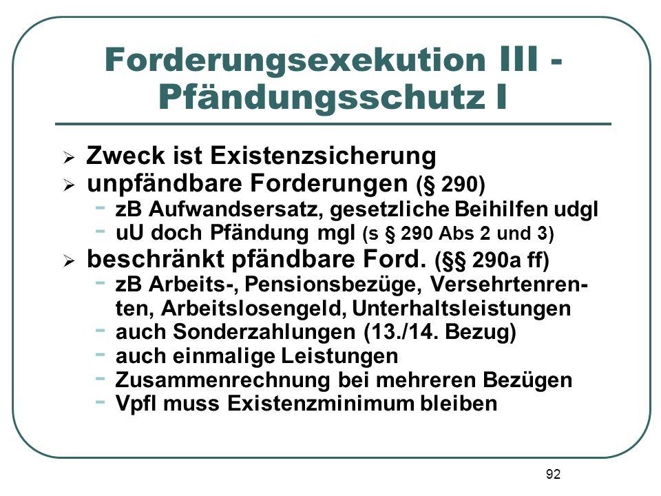 Forderungsexekution III - Pfändungsschutz I