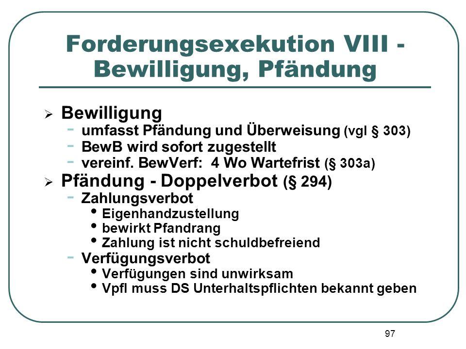 Forderungsexekution VIII - Bewilligung, Pfändung