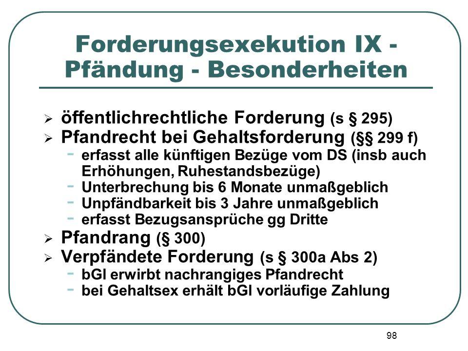 Forderungsexekution IX - Pfändung - Besonderheiten