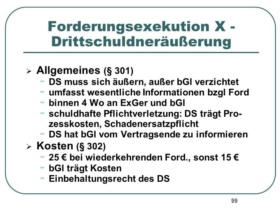 Forderungsexekution X - Drittschuldneräußerung