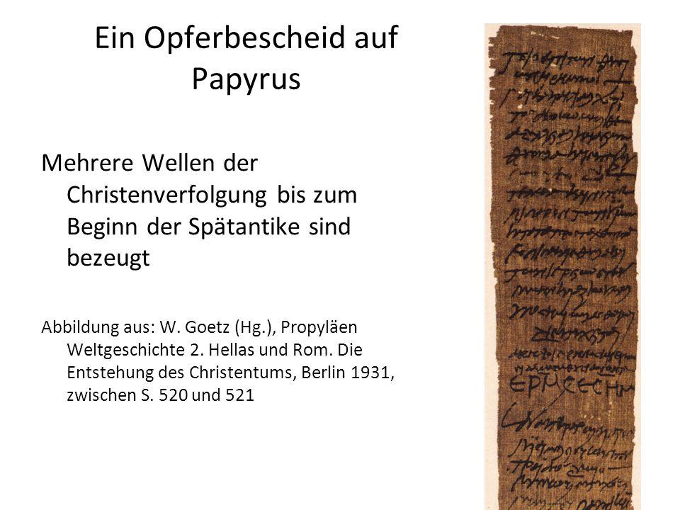 Ein Opferbescheid auf Papyrus