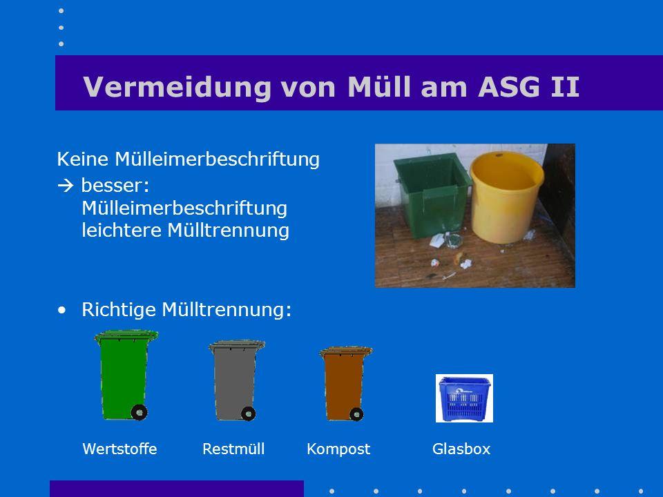 Vermeidung von Müll am ASG II