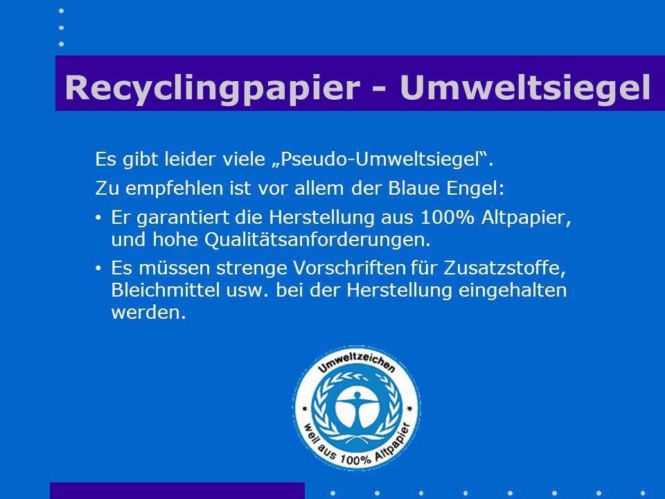 Recyclingpapier - Umweltsiegel