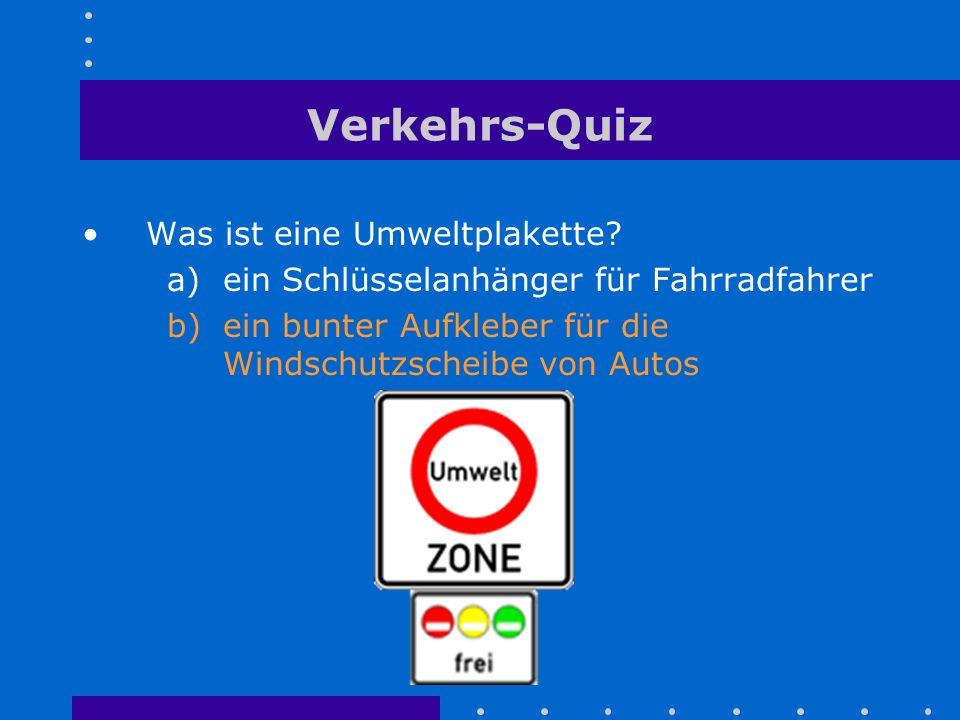 Verkehrs-Quiz Was ist eine Umweltplakette