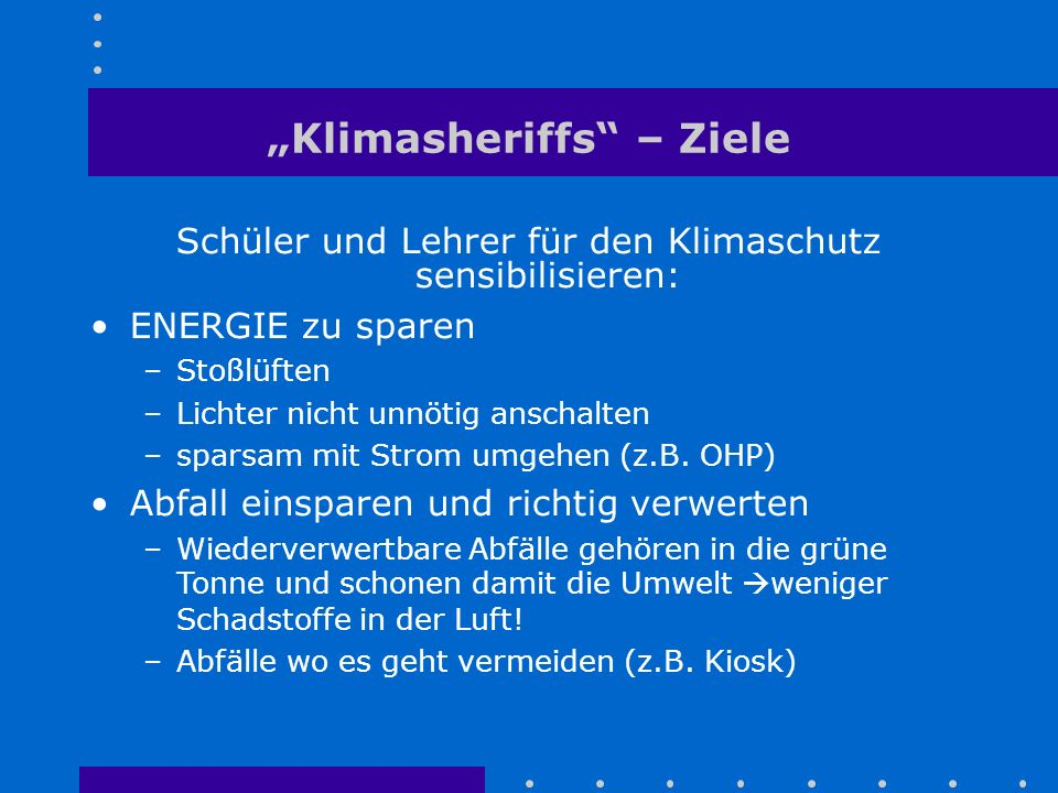 """""""Klimasheriffs – Ziele"""