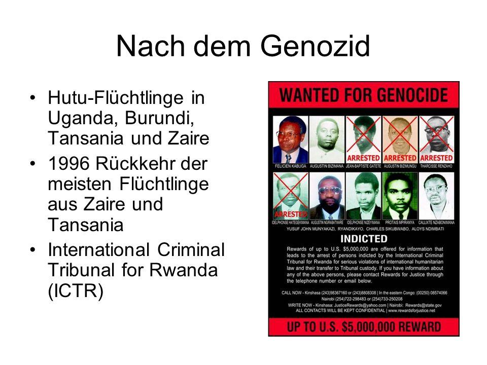 Nach dem Genozid Hutu-Flüchtlinge in Uganda, Burundi, Tansania und Zaire. 1996 Rückkehr der meisten Flüchtlinge aus Zaire und Tansania.
