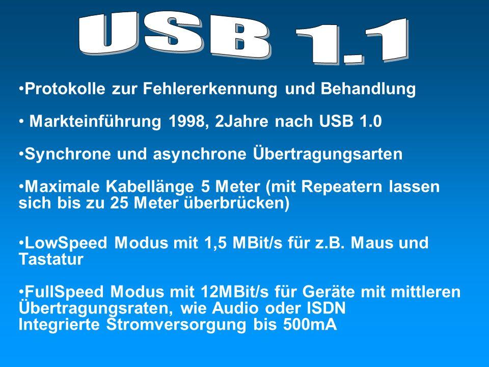 USB 1.1 Protokolle zur Fehlererkennung und Behandlung