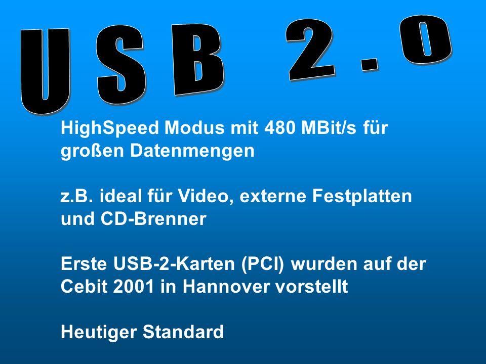 USB 2.0 HighSpeed Modus mit 480 MBit/s für großen Datenmengen