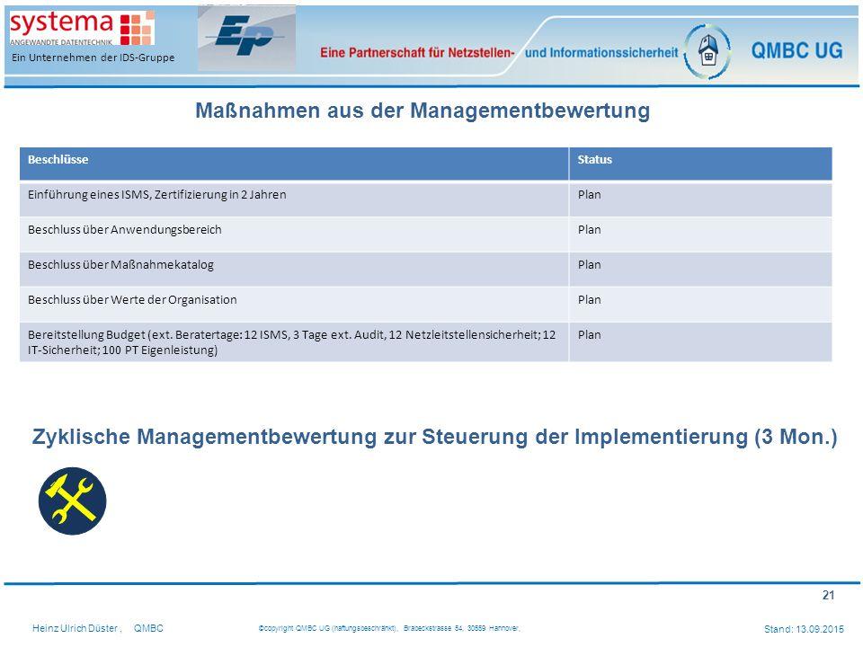 Maßnahmen aus der Managementbewertung