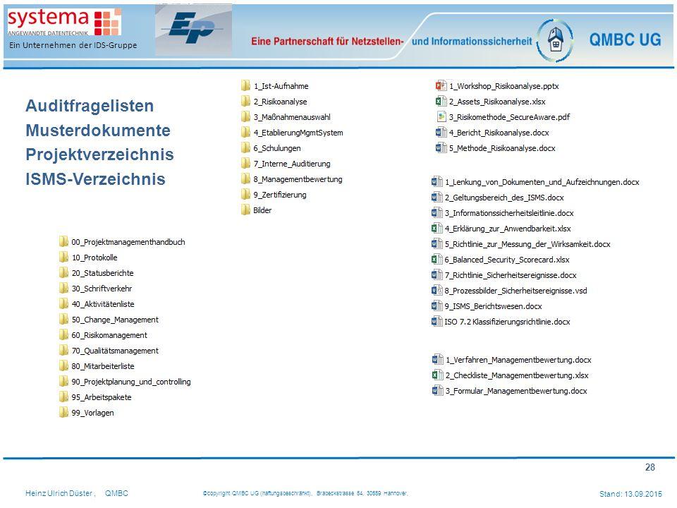 Auditfragelisten Musterdokumente Projektverzeichnis ISMS-Verzeichnis