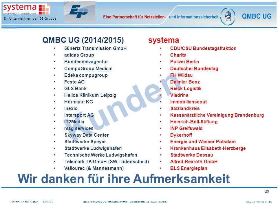 Kunden Wir danken für ihre Aufmerksamkeit QMBC UG (2014/2015) systema