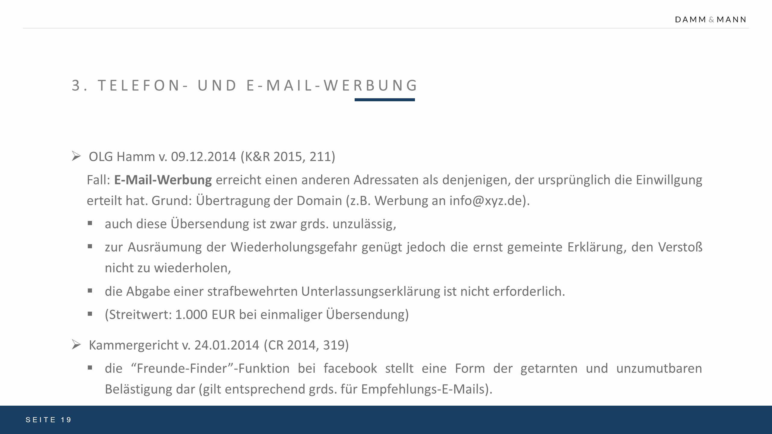 3. Telefon- und E-Mail-Werbung