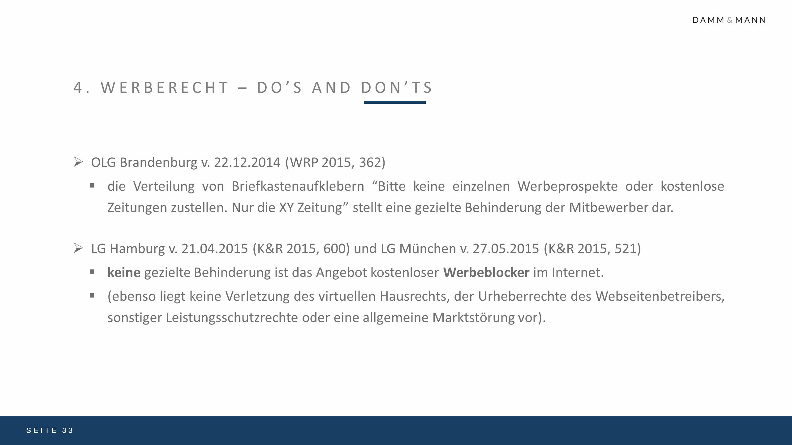 4. Werberecht – Do's and Don'ts